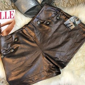 Pants - Sexy metallic faux leather shorts